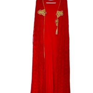 NWOT 2 Piece Red Sheath Dress with Lace Cape XXL